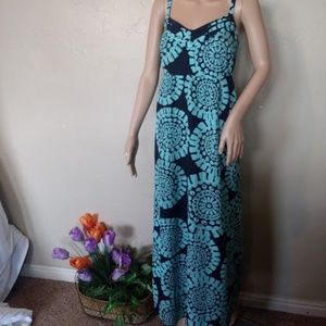 Loft Navy teal maxi dress